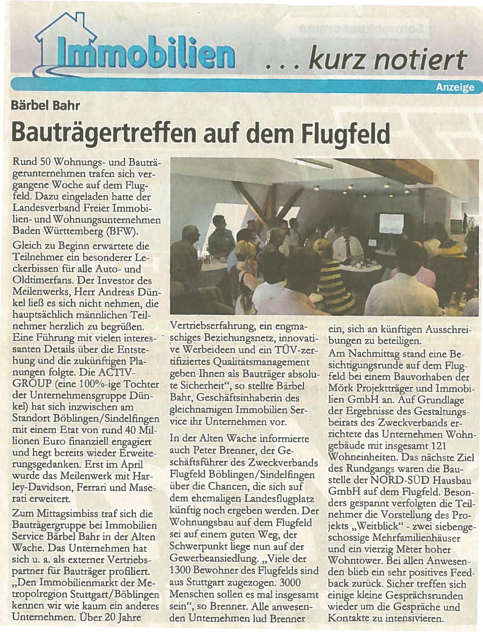 WB-Bauträgertreffen auf dem Flugfeld 04.07.